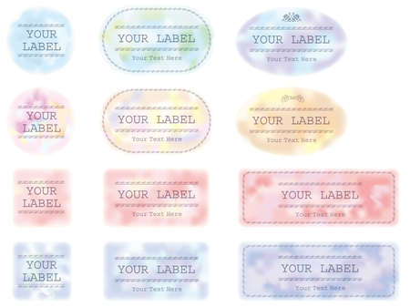 A set of various labels in pastel colors. Illustration