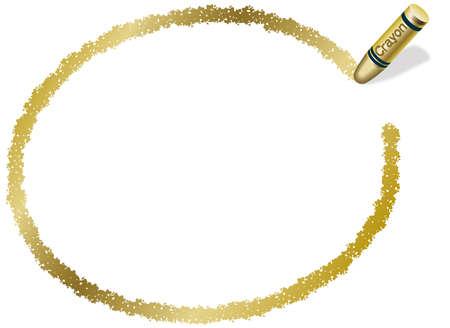 Un marco elipsoidal de oro dibujado con un crayón. Foto de archivo - 85536695