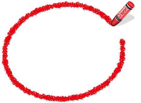 Un marco elipsoidal rojo dibujado con un crayón. Foto de archivo - 85536692