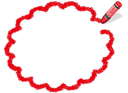 A red, ellipsoidal vector frame drawn with a crayon. 向量圖像