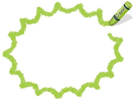 Una ilustración de marco de vector verde amarillo dibujado con un lápiz de color. Foto de archivo - 85536632