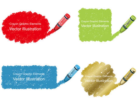 A set of crayon daub background illustrations in four colors. Illustration