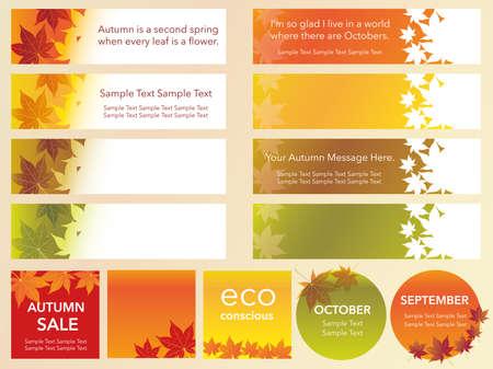 ●秋のグラフィックをあしらった様々なベクターインデックスカードのイラストをセット。