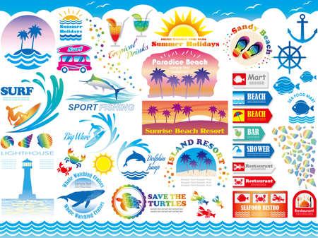 様々 なビーチ リゾート夏の休暇関連ベクトル イラスト、サイン情報グラフィックのセット。  イラスト・ベクター素材