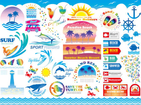 A set of various beach resort/summer vacation-related vector illustrations, signs and info-graphics.