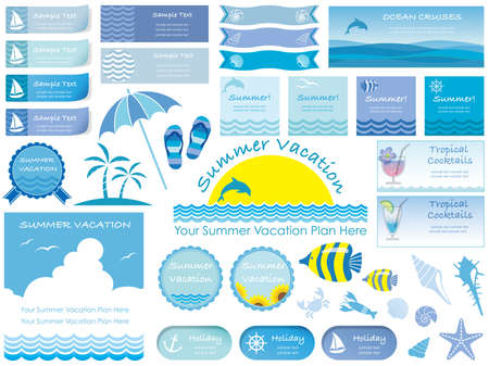 A set of various summer vector info-graphics, signs and illustrations.