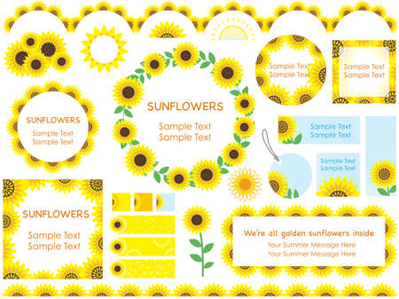 A set of various sunflower frames, borders, and tags. Illustration