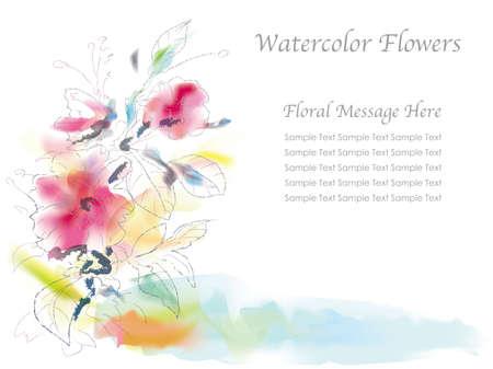 Ilustración de flores surtidas en un estilo de pintura de acuarela espontánea. Foto de archivo - 85566937