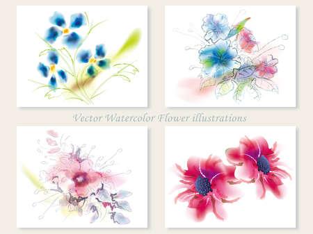 Un conjunto de cuatro ilustraciones surtidas de la flor del vector en un estilo espontáneo de la pintura de la acuarela. Foto de archivo - 85620099