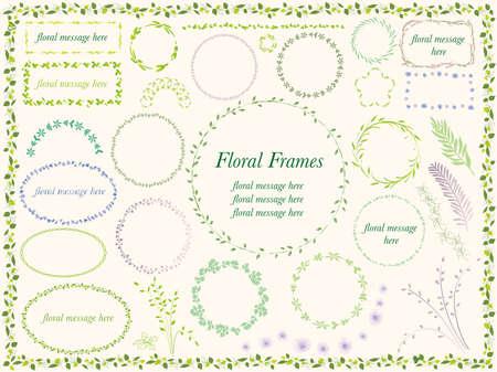 다양 한 꽃과 식물 프레임의 집합입니다.