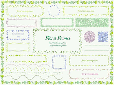 A set of various vector flower and plant frames.