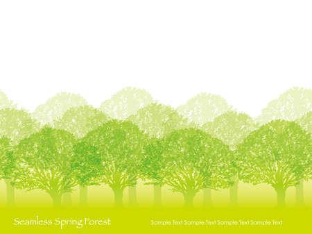 若い緑でシームレスな春の森のベクトルイラスト。