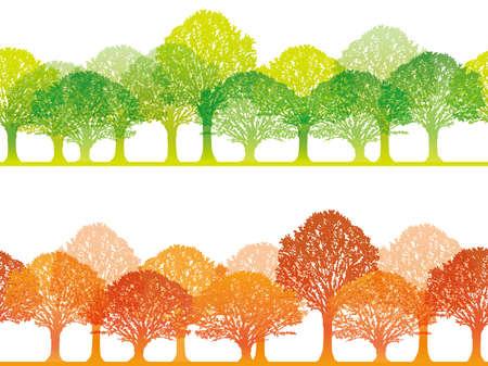 ●2つの森のイラストのセットです。  イラスト・ベクター素材