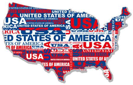 米国のベクトル マップは、国、国の名前や国旗の色の図形で構成されます。  イラスト・ベクター素材