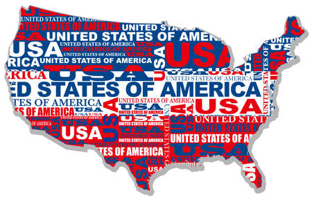 A vector map of the USA composed of the shape of the country, the country name, and the colors of the national flag.