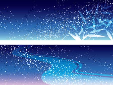 Un conjunto de dos ilustraciones vectoriales de la Vía Láctea para el Festival de la Estrella.