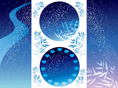 A set of various vector Milky Way illustrations for the Star Festival.
