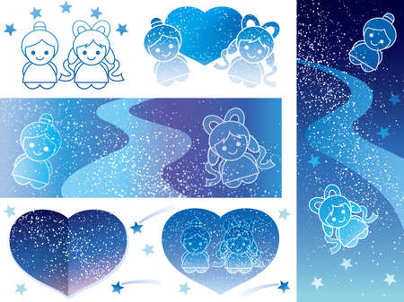 A set of various vector illustrations of the Star Festival.
