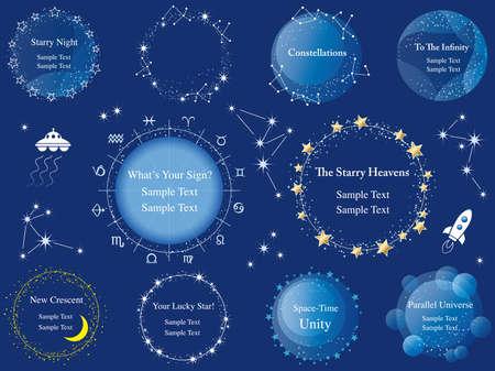 A set of various star frames.