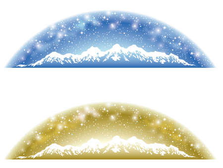 A set of two hemispherical backgrounds of snowy mountains and the starry sky in blue and gold. Illustration