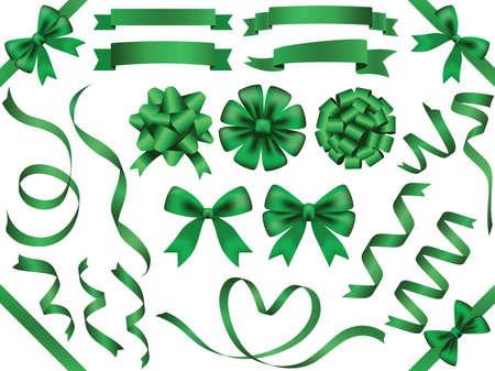 A set of various green vector ribbons.