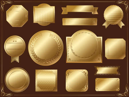 A set of various gold labels without sample text Stock Illustratie