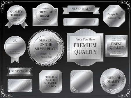 Een reeks diverse zilveren etiketten, illustraties.