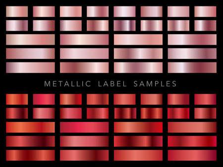 A set of various metallic label samples.