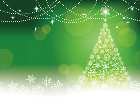 Seamless abstract winter green background with Christmas tree and snowflakes, vector illustration. Illustration