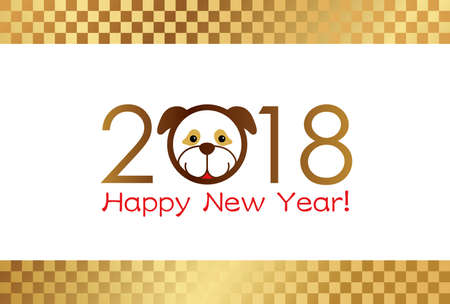 2018 A New Years card template, vector illustration.  イラスト・ベクター素材