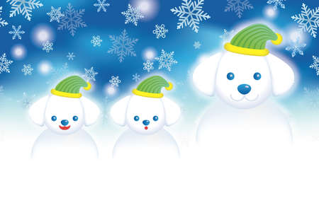 A ChristmasNew Years card template with a doggy snowman family with a blue background, vector illustration.