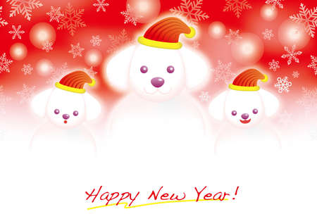 A New Years card with a doggy snowman family with a red background, vector illustration. Illustration