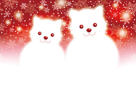 A ChristmasNew Years card template with two doggy snowmen with a red background, vector illustration.