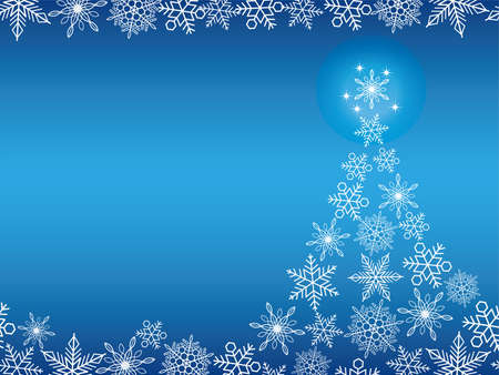 christmas backgrounds: Seamless abstract blue winter background with Christmas tree and snowflakes, vector illustration. Illustration