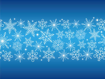 christmas backgrounds: A seamless abstract blue winter background with white snowflakes, vector illustration.