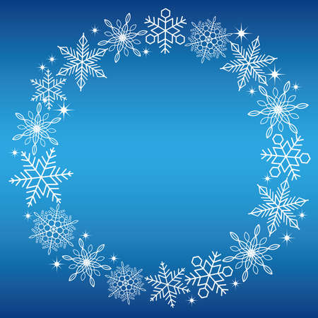 christmas backgrounds: A circular white snow crystal frame with a blue background, vector illustration.