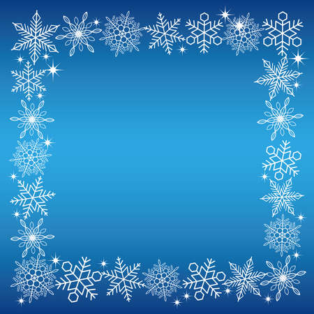 christmas backgrounds: A square white snow crystal frame with a blue background, vector illustration.