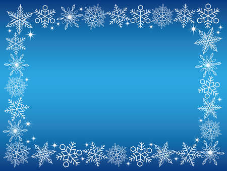 christmas backgrounds: A rectangular white snow crystal frame with a blue background, vector illustration.
