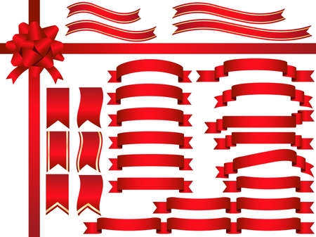 A set of various red ribbons, vector illustration.