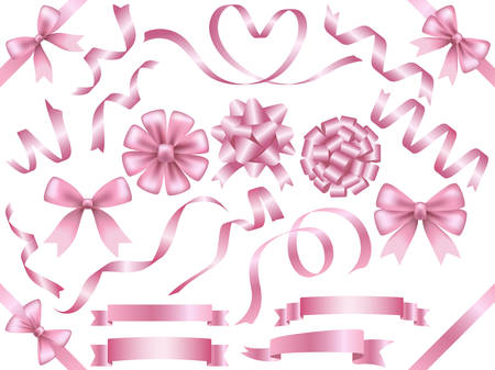 A set of assorted pink ribbons, vector illustration.
