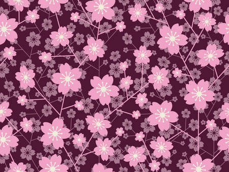 A seamless cherry blossom vector pattern, horizontally and vertically repeatable.