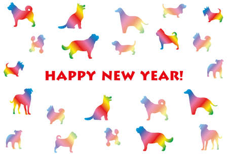 The year of the dog New Year's card template with various dog silhouettes in rainbow colors.