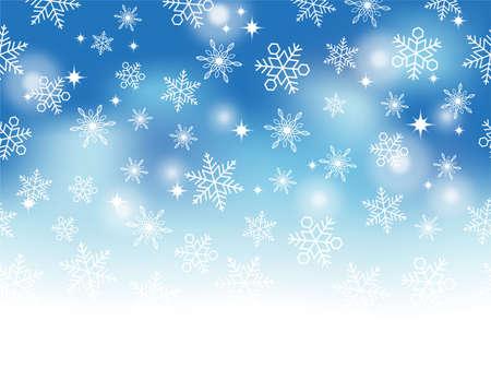 A snow background illustration, horizontally repeatable. Illustration