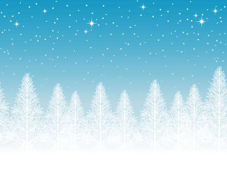 A seamless snowy landscape vector illustration. Horizontally repeatable.