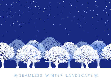 A seamless snowy landscape vector illustration. (Horizontally repeatable)  イラスト・ベクター素材