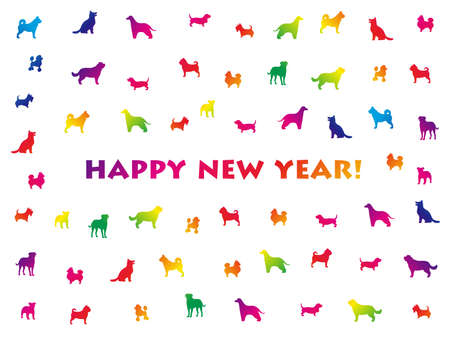 The year of the dog New Year card with assorted dog silhouettes in rainbow colors.