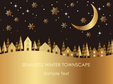 A seamless winter townscape with text space, vector illustration with houses and moon