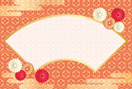 A New Year's greeting card template with a text space and traditionally auspicious graphic elements in Japan. Vector illustration.