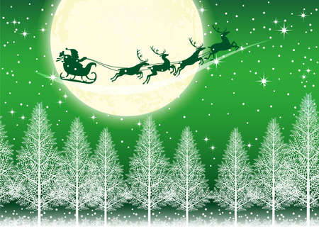 A seamless Christmas background with Santa Claus and reindeers flying across the moon, vector illustration. (Horizontally repeatable)