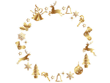 An abstract golden Christmas wreath frame with assorted Christmas graphic elements, vector illustration.